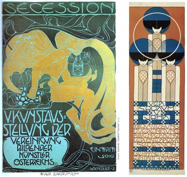 (左)図1:コロマン・モーザー《第5回分離派展ポスター》1899年/(右)図2:コロマン・モーザー《第13回ウィーン分離派展》1902年