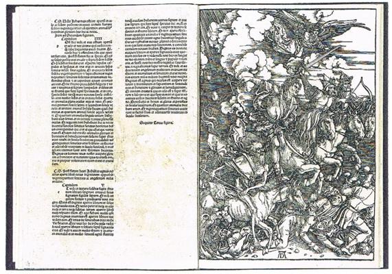 アルブレヒト・デューラー《黙示録(四人の騎者)》  1948年 紙 活版印刷 木版 420×300㎜ 印刷博物館 *図版出典:『ヴァチカン教皇庁図書館展―書物の誕生:写本から印刷へ』カタログ(印刷博物館、2002年)p148より