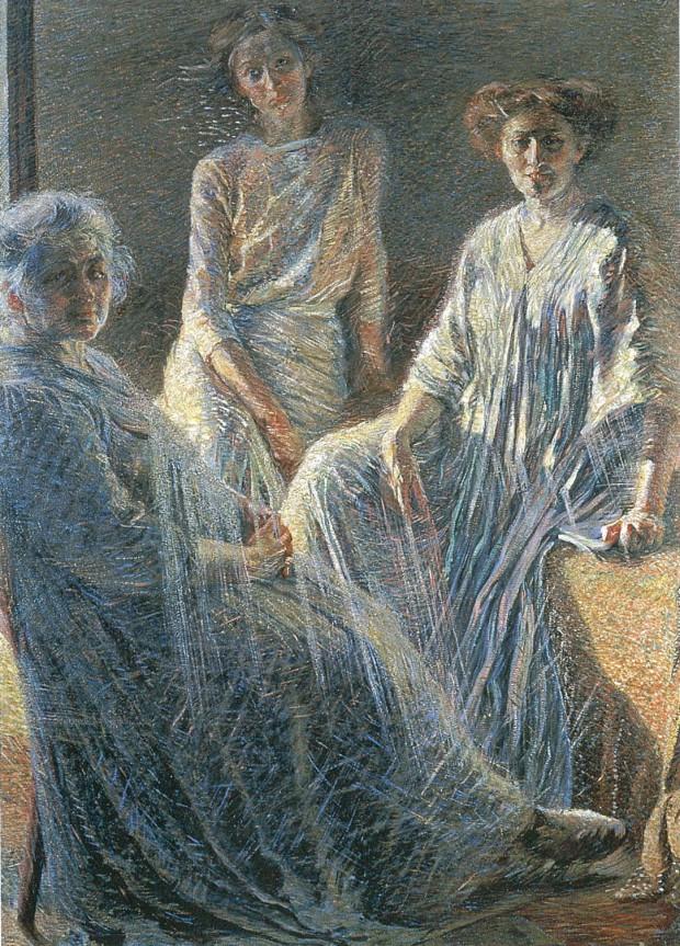 図2:ウンベルト・ボッチョーニ《三人の女性》1909-1910年、カンヴァスに油彩、170×124cm、インテーザ・サンパオロ・コレクション、ミラノ