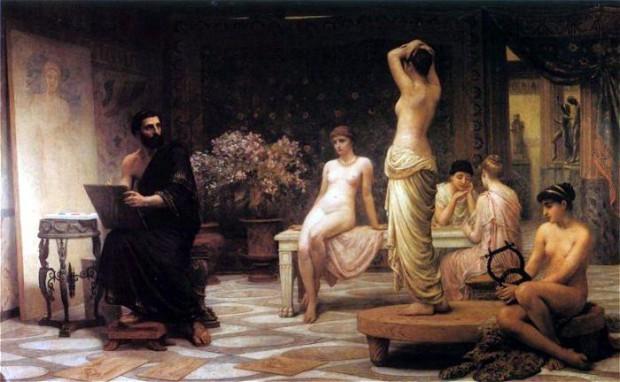 エドウィン・ロング《選ばれし5人(クロトンのゼウクシス)》(1885年)