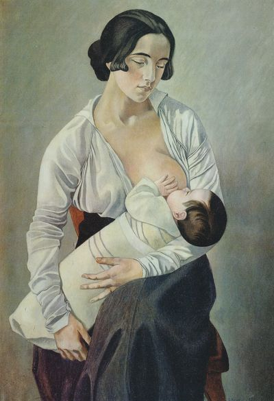 図1:ジーノ・セヴェリーニ《母性》1916年、カンヴァスに油彩、92×65cm、エトルリア美術館、コルトーナ