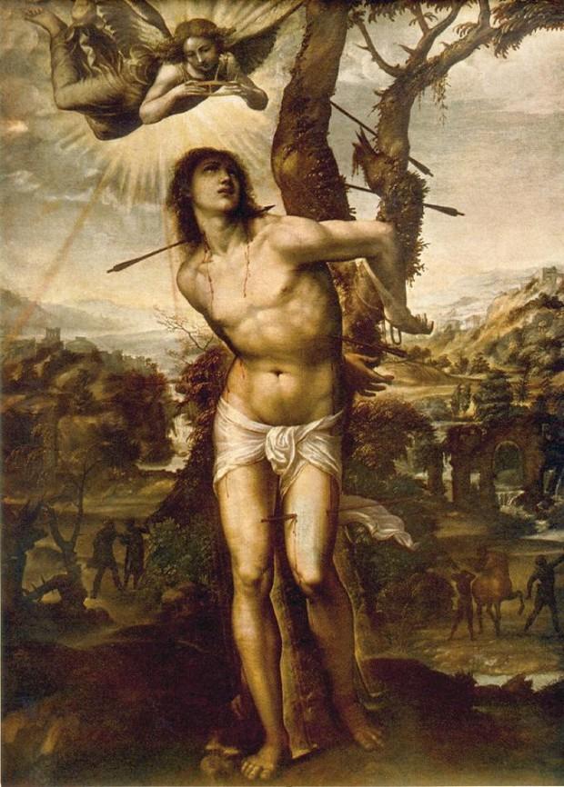 【図2】 ソドマ《聖セバスティアヌスの殉教》(1525年)、フィレンツェ、パラティーナ美術館蔵