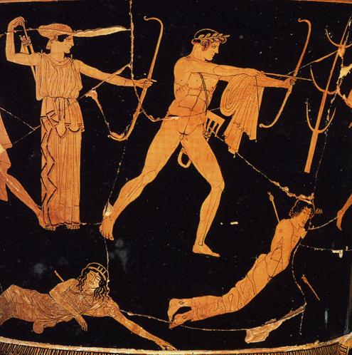 遠矢射るアポロン、ニオビッドの画家作画のクラテル(部分)、前475-425年頃、パリ、ルーヴル美術館蔵
