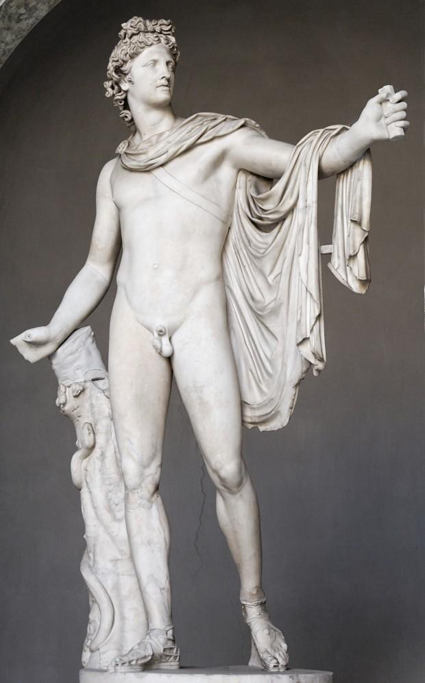 【図8】 《ベルヴェデーレのアポロン》120-140年頃のローマンコピー(オリジナルは前350-325年頃レオカレス作のブロンズ像)、ヴァティカン、ピオ・クレメンティーノ美術館蔵