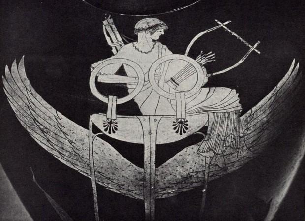 【図6】 三脚鼎に坐すアポロン、ベルリンの画家作画アッティカ式赤像式ヒュドリア(前490年頃)、ヴルチ出土、ヴァティカン、グレゴリアーノ・エトルリア美術館蔵